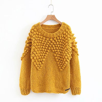 MUSTARD POM POM DETAIL CABLE KNITTED JUMPER