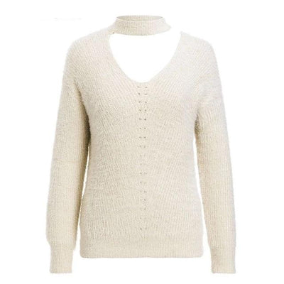V NECK OFF SHOULDER SOFT KNITTED CROP JUMPER