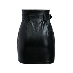 BLACK FAUX LEATHER BELTED CARGO ZIPPER MINI SKIRT