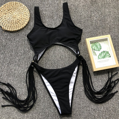 EXTREME HIGH LEG TASSEL  WAIST SWIMSUIT