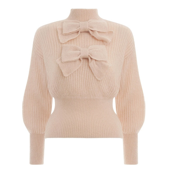 BEIGE BOW JUMPER