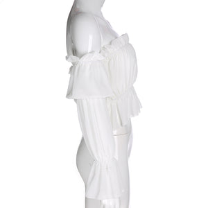 WHITE RUFFLE BARDOT FLARED SLEEVE