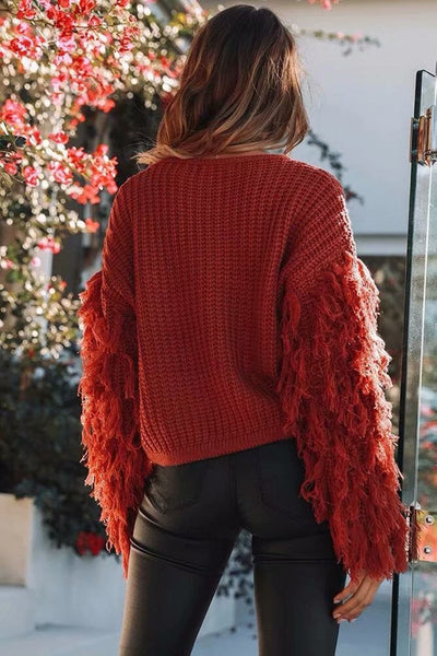 KNITTED TASSEL SLEEVE JUMPER