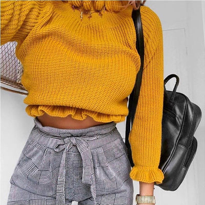 HIGH NECK RUFFLE TRIM CROP JUMPER