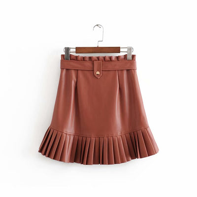 FAUX LEATHER FRILLED HEM MINI SKIRT