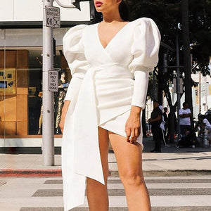 BALLOON SLEEVE RUCHED BODYCON DRESS