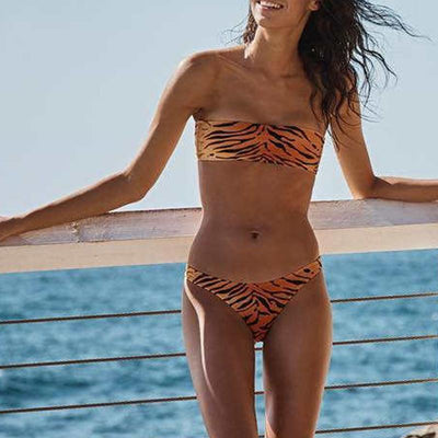 ANIMAL PRINTED STRAPLESS  BIKINI SET
