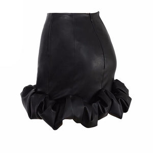 BLACK FAUX LEATHER FRILLED HEM MINI SKIRT
