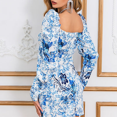 BARDOT FLORAL  DETAIL LONG SLEEVE DRESS