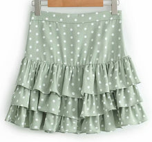 GREEN POLKA DOT FRILL HEM MINI SKIRT