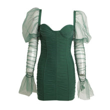 GREEN RUCHED MESH BARDOT BODYCON DRESS