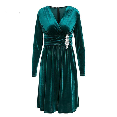 EMERALD GREEN EMBOSSED VELVET LONG SLEEVE BODYCON