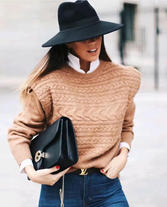 CAMEL WIDE SHOULDER  JUMPER
