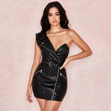 BLACK FAUX LEATHER BARDOT WAIST BELT BODYCON DRESS