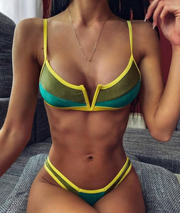 V NECK COLORED BIKINI SET
