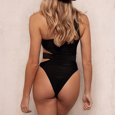 BLACK CUT OUT BELTED SWIMSUIT