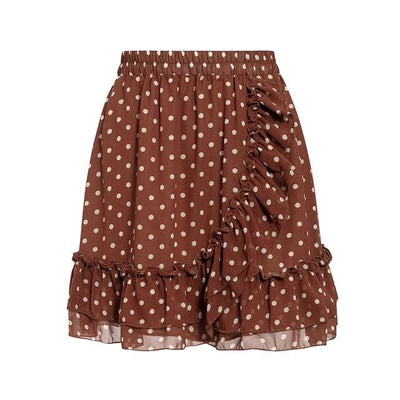BROWN POLKA DOT FRILL DETAIL SKIRT
