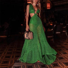 FISHNET LONG GREEN DRESS