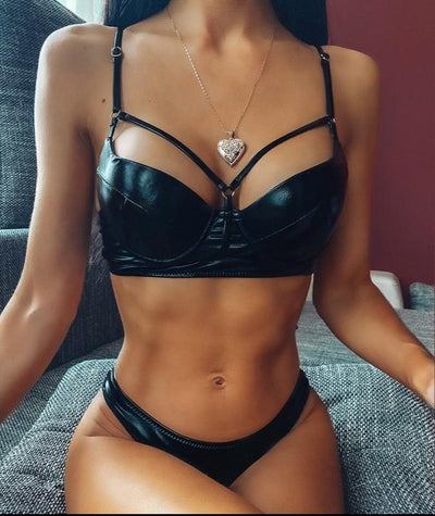 PU LEATHER BIKINI SET