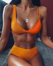 HIGH WAIST ORANGE BIKINI SET