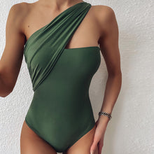 GREEN ONE SHOULDER SWIMSUIT