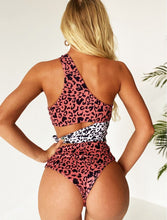 LEOPARD PRINT CUT OUT WRAP AROUND SWIMSUIT