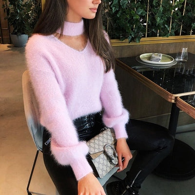HALLOW OUT KNITTED SOFT SWEATER