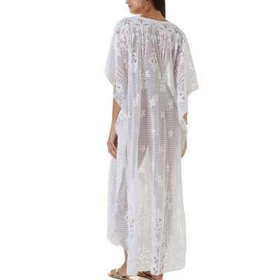 WHITE BRODERIE  BEACH DRESS