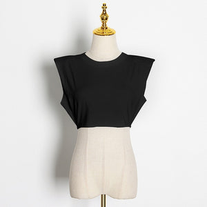 PADDED SHOULDER CROP TOP