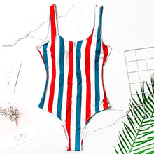 STRIPED ZIP SWIMSUIT