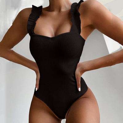 BLACK RUFFLE SWIMSUIT
