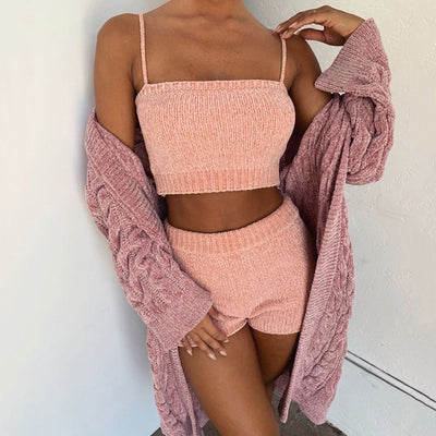 STRAP CABLE KNIT 2 PIECES SET