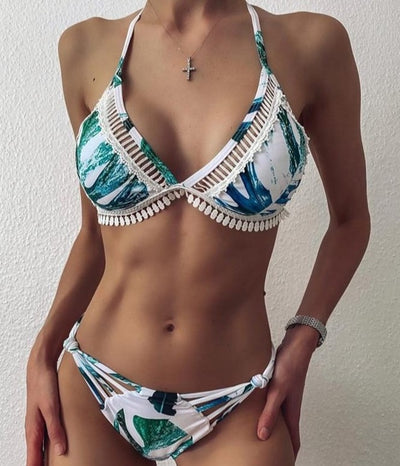 LACE PRINTED BIKINI SET