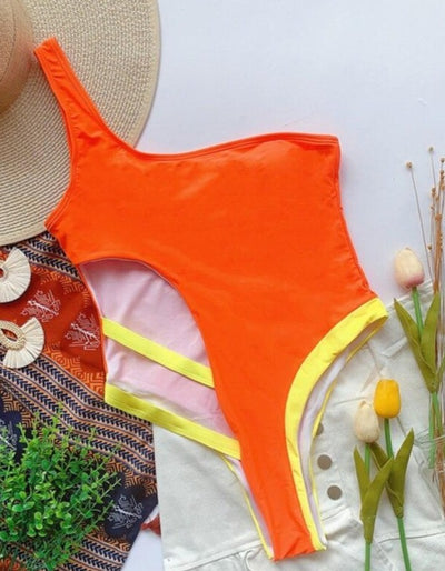 ONE SHOULDER PATCHWORK SWIMSUIT