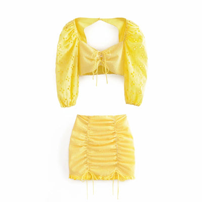 YELLOW LACE 2 PIECES SET