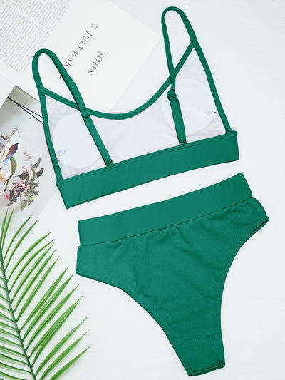 GREEN RIBBED SCOOP NECK BIKINI SET