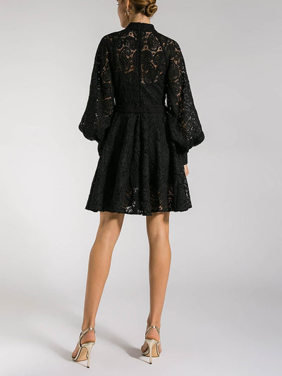 BLACK CROCHET HIGH NECK DRESS