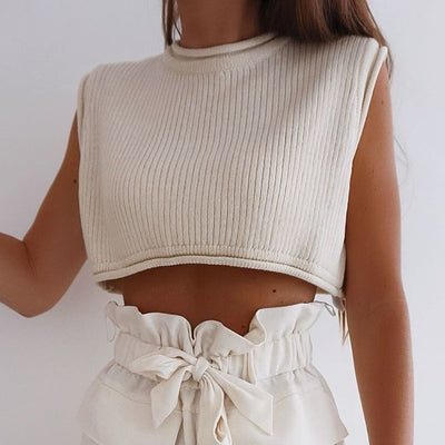 KNITTED SHORT CROP TOP