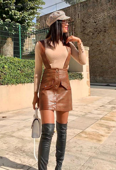 FAUX LEATHER STRAP SKIRT