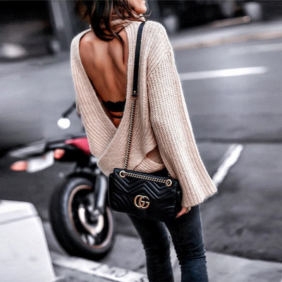 BACKLESS CROSS SWEATER