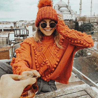POMPOM KNITTED SWEATER