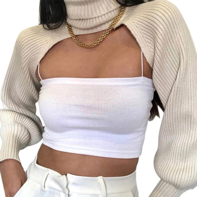CROP ROLL NECK SWEATER