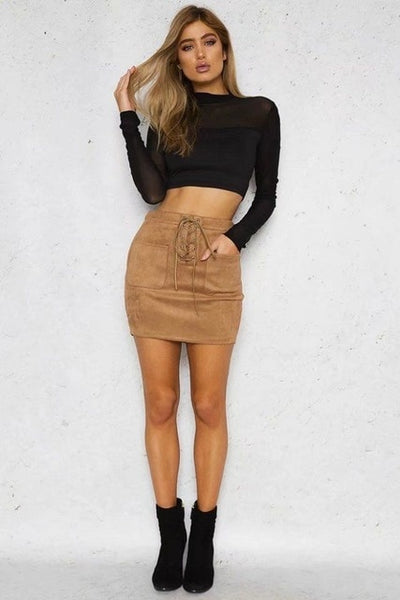 BROWN FAUX SUEDE SEAM DETAIL LACE UP MINI SKIRT