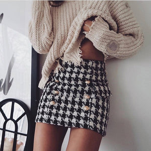 BLACK TWEED BUTTON DETAIL MINI SKIRT