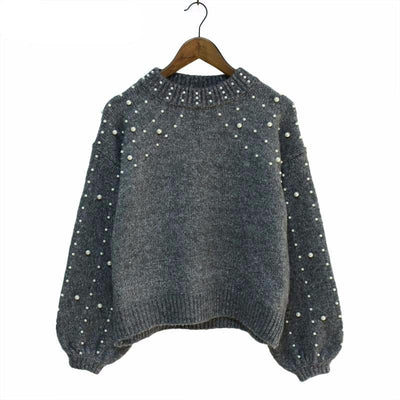 PEARL BEADED GREY SWEATER