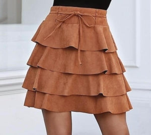 BROWN FAUX SUEDE FLIPPY HEM MINI SKIRT