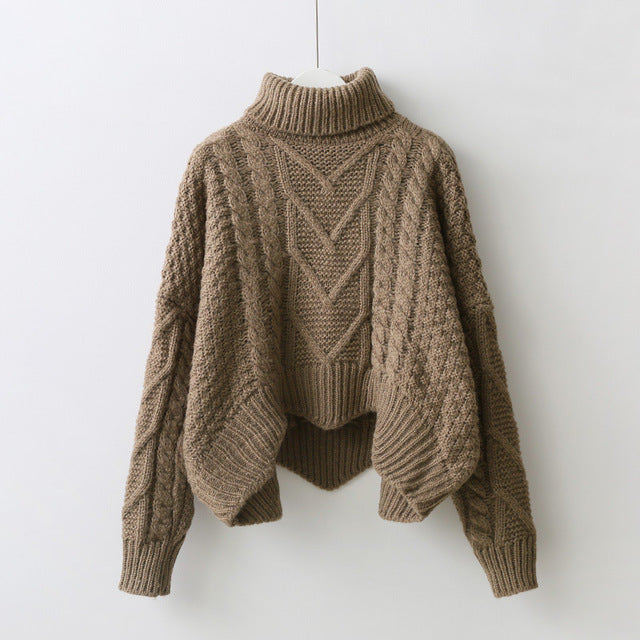CAMEL HIGH NECK  YARN KNITTED JUMPER