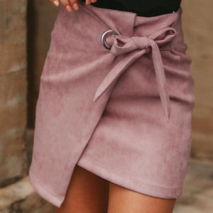 PINK FAUX SUEDE HIGH WAIST MINI SKIRT