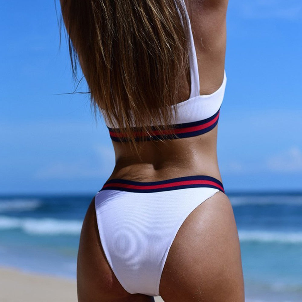 RIBBED HIGH WAIST BIKINI SET