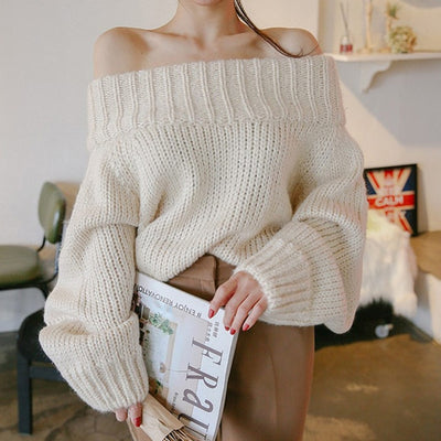 OFF SHOULDER KNIITED SWEATER